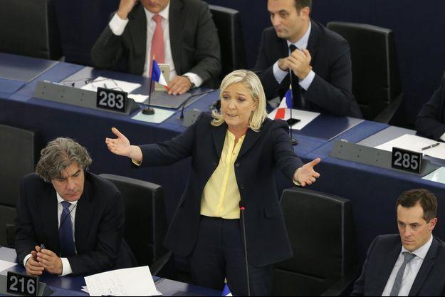 Marine Le Pen au Parlement euopéen, le 7 octobre.