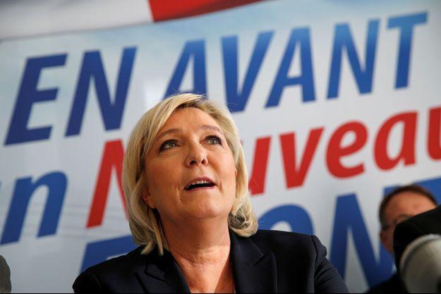 Marine Le Pen ici lors d'une conférence à Laon en février.
