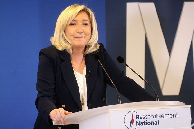 Marine Le Pen au siège du RN fin janvier.