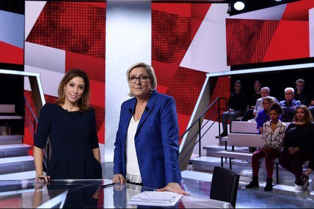 Léa Salamé et Marine Le Pen sur France 2, jeudi soir.