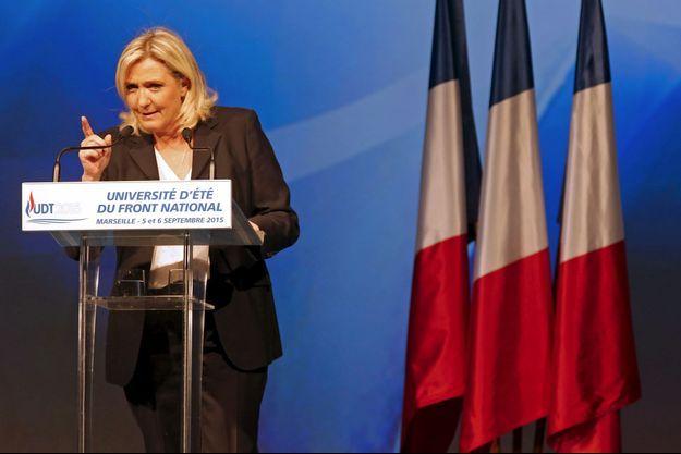 """La présidente du Front national s'est livrée à une heure et quart de réquisitoire contre un """"pouvoir honteusement laxiste""""."""