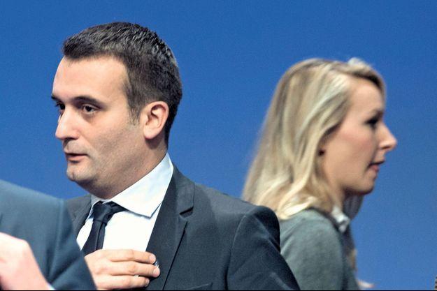 Au XVe congrès du FN, à Lyon, le 30 novembre. Marion Maréchal-Le Pen et Florian Philippot : deux lignes divergentes.