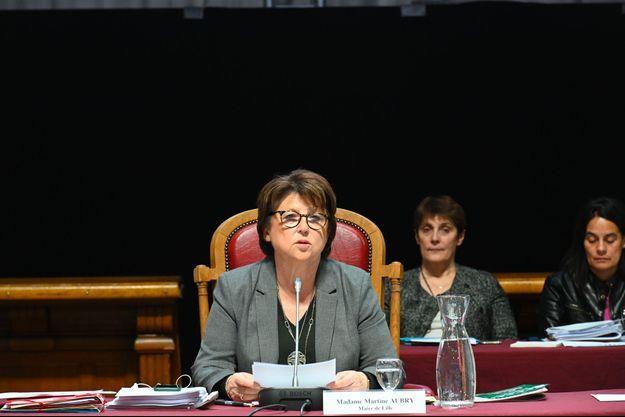 Martine Aubry lors du conseil municipal de Lille le 22 novembre.
