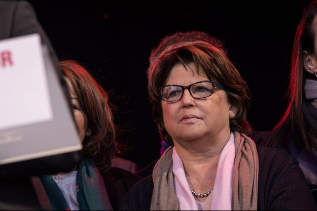 Martine Aubry, en avril 2017 à un meeting de Benoît Hamon à Paris.