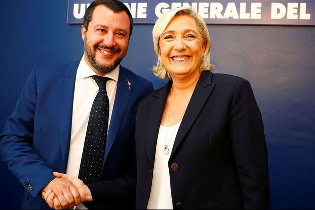 Matteo Salvini et Marine Le Pen, le 8 octobre, à Rome.