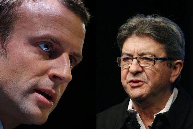Emmanuel Macron et Jean-Luc Mélenchon (montage)