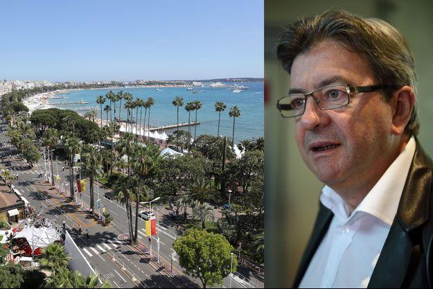 A gauche, la Croisette, dimanche. A droite, Jean-Luc Mélenchon, lundi, à l'aéroport de Nice.