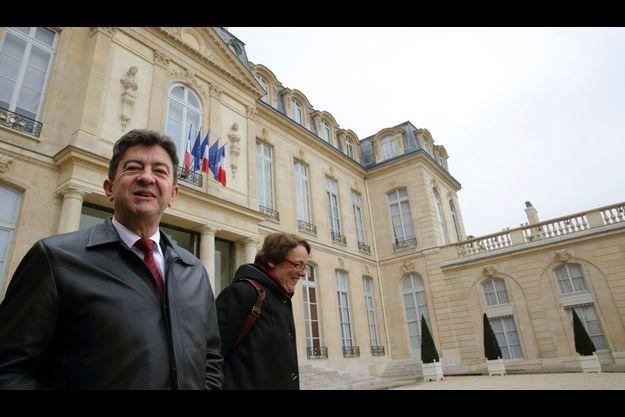 Jean-Luc Mélenchon et Martine Billard dans la cour du palais de l'Elysée, en novembre dernier.