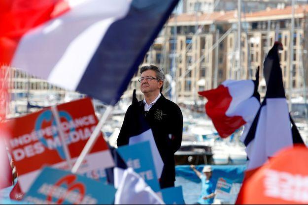 Jean-Luc Mélenchon lors d'un meeting à Marseille avant le premier tour.