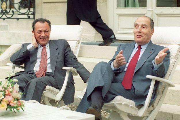 Michel Rocard et François Mitterrand en 1990
