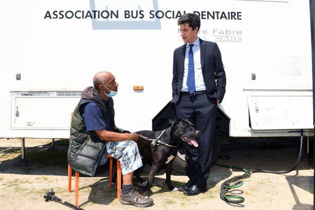 Le 22 juillet, Julien Denormandie en visite au Samu social de Paris.