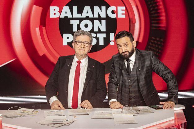 """Jean-Luc Mélenchon et Cyril Hanouna, le 11 février dans """"Balance ton post"""""""