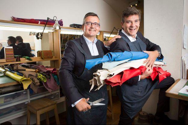 C'est entre deux sacs cousus main, dans l'atelier de maroquinerie parisienne laContrie, qu'Yves Jégo et Arnaud Montebourg lancent leur association Vive la France.