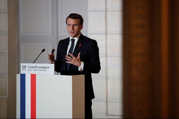 Emmanuel Macron jeudi soir à l'Elysée lors d'une conférence de presse.