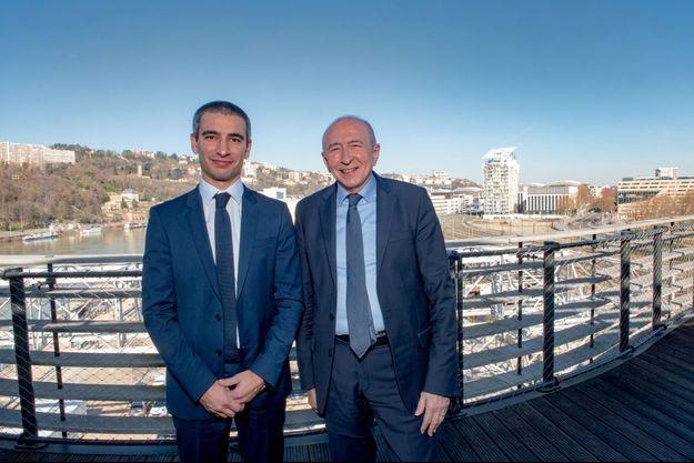 Le tandem Yann Cucherat et Gérard Collomb, candidats respectivement à la ville et à la métropole.