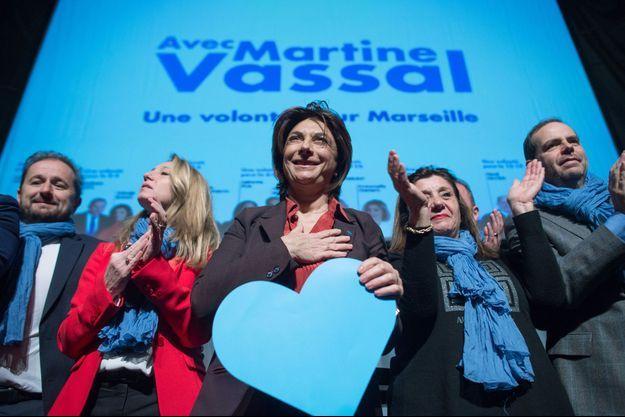 Martine Vassal en meeting à Marseille le 14 février dernier est créditée de 23% des intentions de vote.