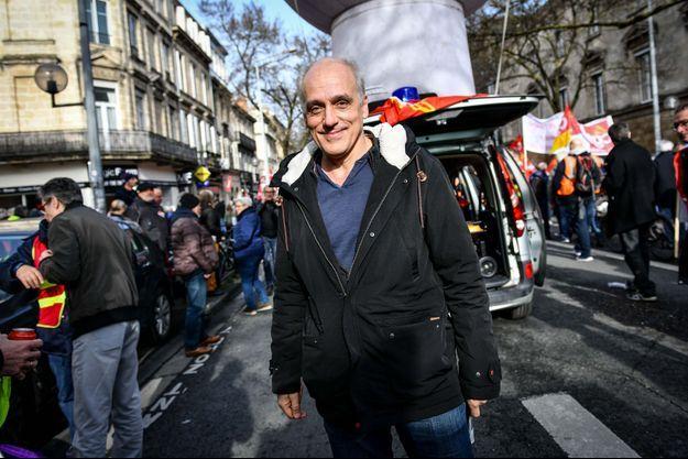 Philippe Poutou lors de la manifestation à Bordeaux vendredi.