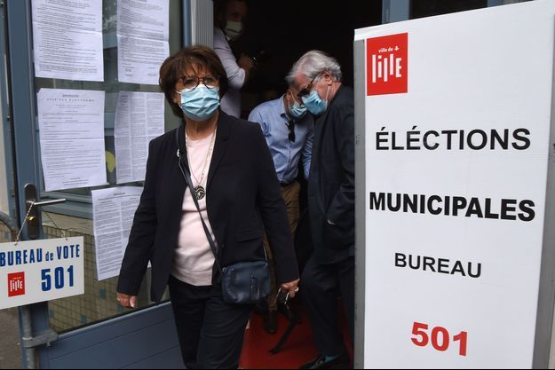 Martine Aubry lors du second tour de l'élection municipale, à Lille le 28 juin 2020.