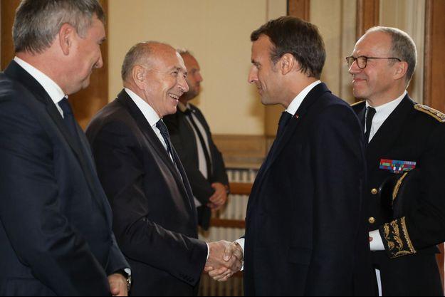 Emmanuel Macron et Gérard Collomb mercredi soir à Lyon.