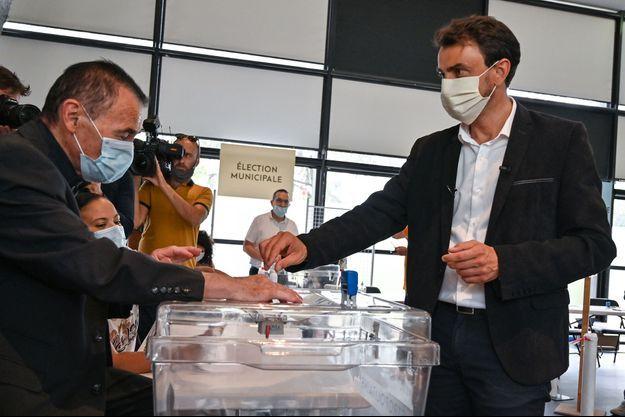 Grégory Doucet lors du second tour de l'élection municipale à Lyon.