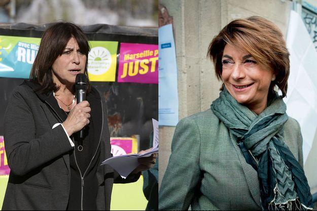 De g. à dr. : Michèle Rubirola (Union de la gauche) et Martine Vassal (LR) sont arrivées à un point d'écart au premier tour.