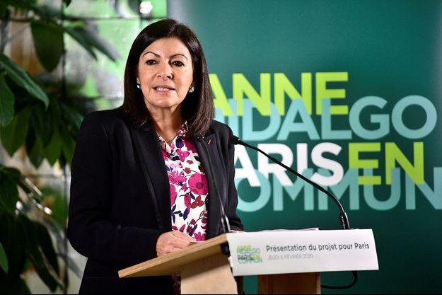 Anne Hidalgo lors de l'annonce de son programme pour les élections municipales de 2020.