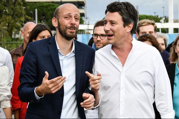 """Stanislas Guerini et Benjamin Griveaux en septembre 2019 lors du """"Campus des territoires"""" de LREM à Bordeaux."""