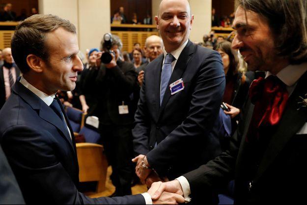 Emmanuel Macron et Cédric Villani en mars 2018.