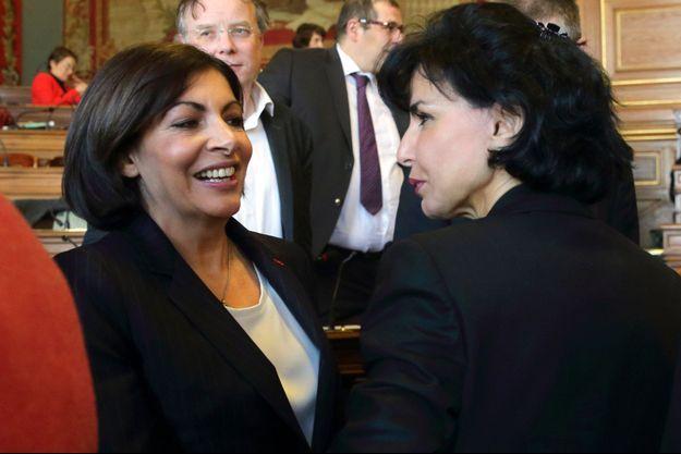Anne Hidalgo et Rachida Dati en 2014.