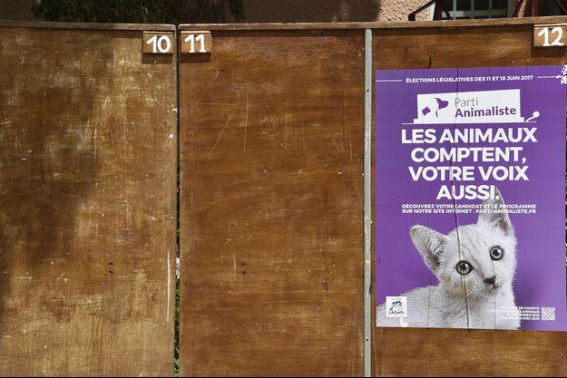 Une affiche du Parti animaliste lors de la campagne législative de 2017.