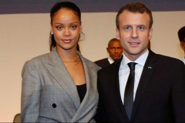 Emmanuel Macron et Rihanna au Sénégal en février.