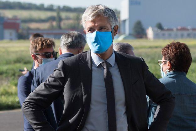 Laurent Wauquiez , ici en septembre lors d'une visite d'Emmanuel Macron à Aulnat.