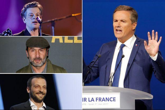 Benjamin Biolay , Gilles Lellouche et Mathieu Kassovitz ont posté des messages d'insultes contre Nicolas Dupont-Aignan.