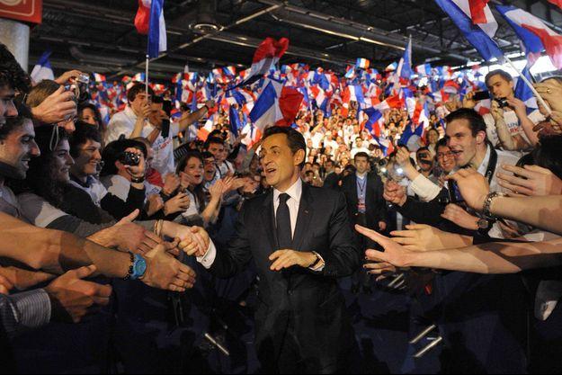 Nicolas Sarkozy lors du grand meeting de Villepinte, le 11 mars 2012.