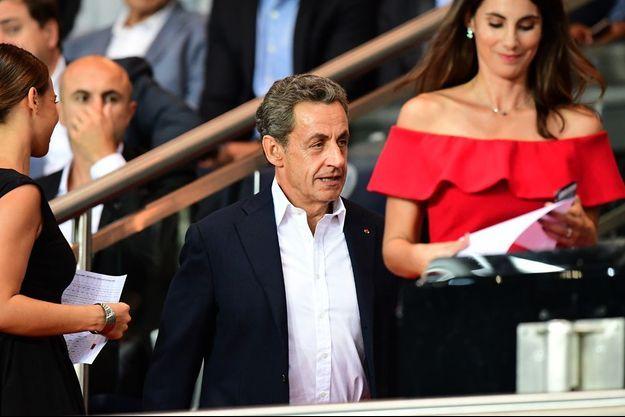 Nicolas Sarkozy, mardi soir au Parc des Princes, à Paris.