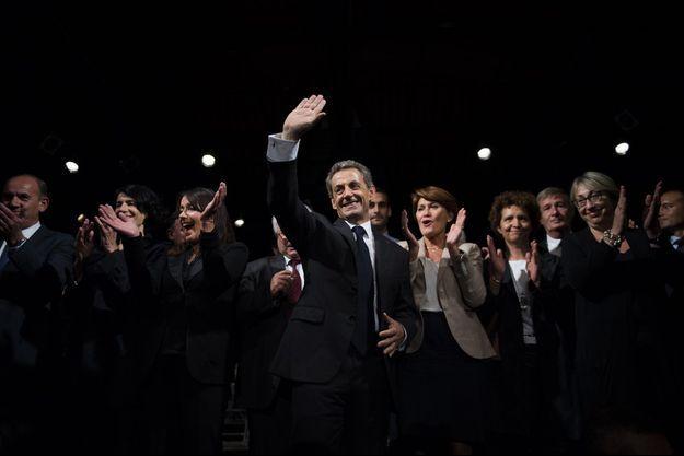 Nicolas Sarkozy à Franconville, dans le Val-d'Oise, lundi soir.