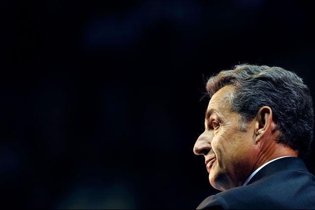 Nicolas Sarkozy en meeting pour l'UMP en octobre 2014.