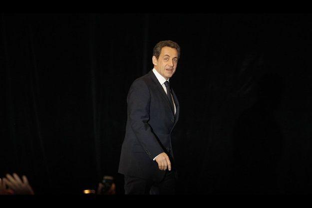 Nicolas Sarkozy à Annecy le 16 février, pour son premier meeting de candidat.