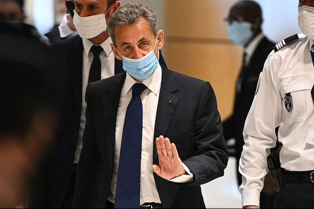 Nicolas Sarkozy au tribunal de Paris, lundi.