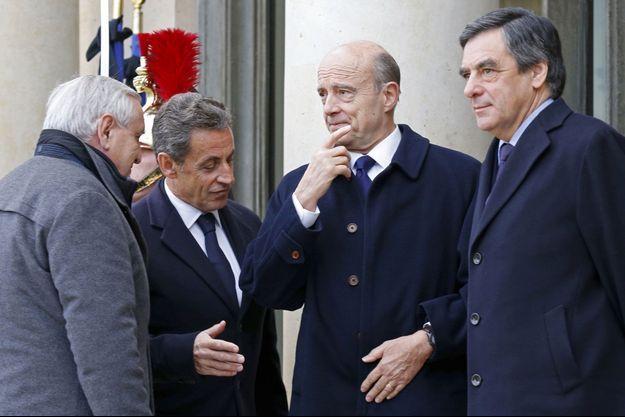Jean-Pierre Raffarin, Nicolas Sarkozy, Alain Juppé et François Fillon, le 11 janvier dernier, à l'Elysée.