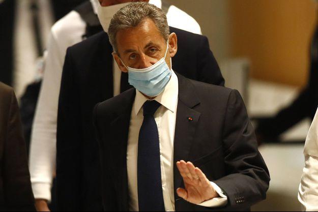 Nicolas Sarkozy , lundi au tribunal de Paris.