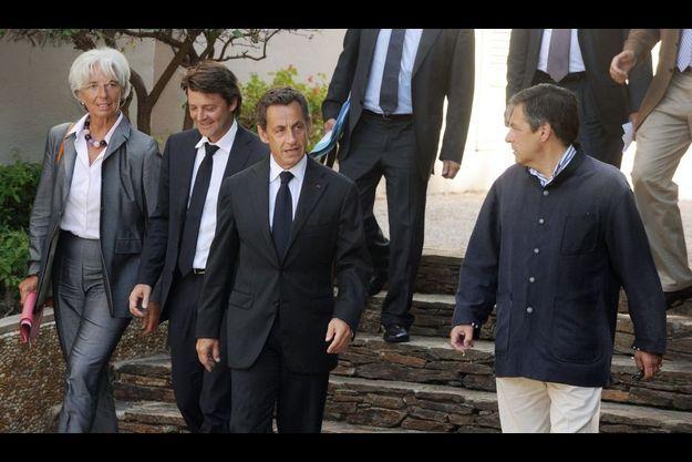 Christine Lagarde, François Baroins, Nicolas Sarkozy et François Fillon.