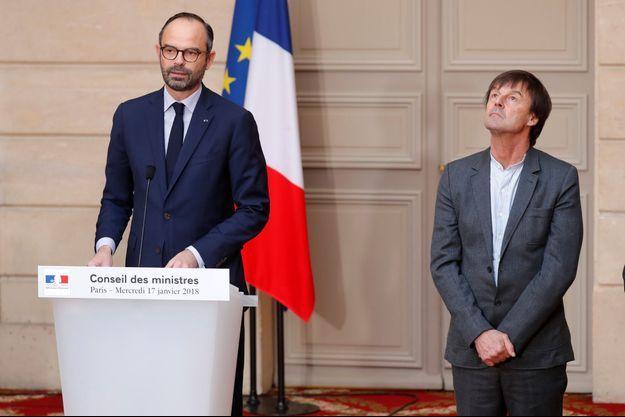 Nicolas Hulot mercredi aux côtés d'Edouard Philippe, à l'Elysée.