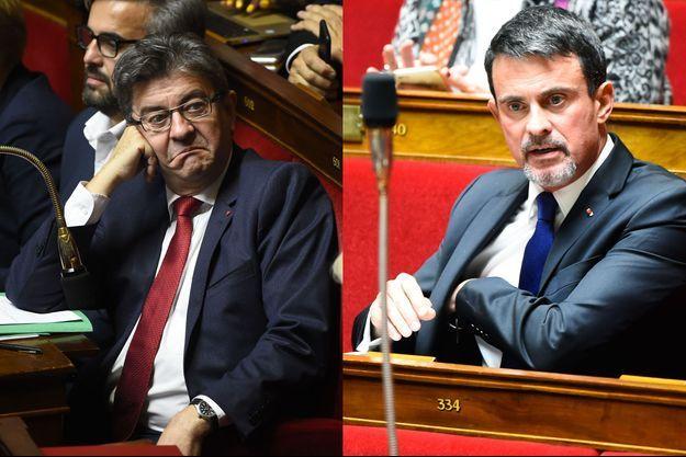 Jean-Luc Mélenchon et Manuel Valls à l'Assemblée nationale.