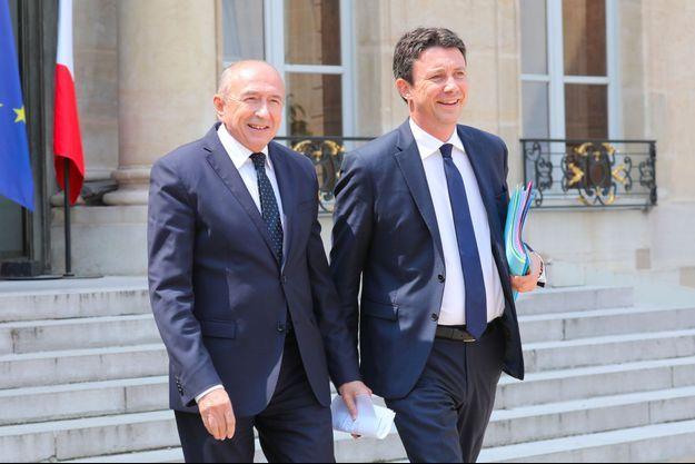 Gérard Collomb et Benjamin Griveaux à l'Elysée, en mai 2018.