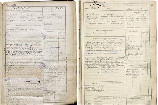 Ci-dessus, les fiches matricules d'Henri Macron et Fabien Noguès, deux arrière-grands-parents du chef de l'Etat. Ces documents de l'armée révèlent le parcours des soldats.