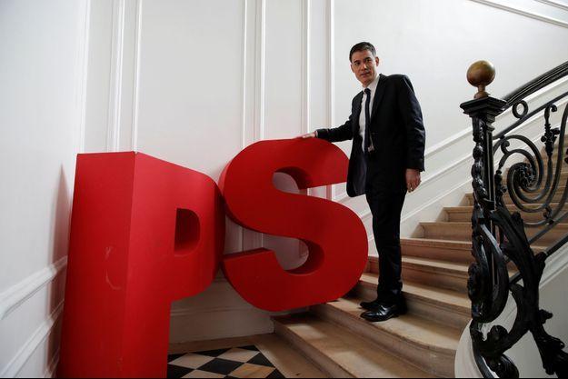 Le premier secrétaire du PS, Olivier Faure, dans l'ancien siège du PS, rue Solférino.