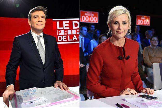 Arnaud Montebourg et Laurence Ferrari dimanche soir lors du deuxième débat de la primaire de la gauche.