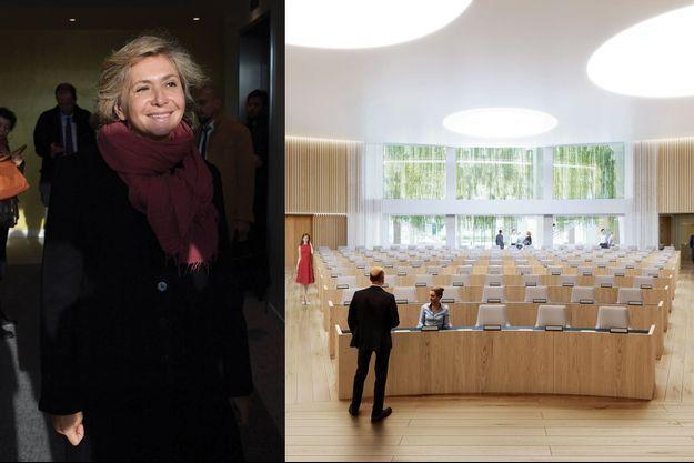 Valérie Pécresse lors d'une visite du chantier du siège du Conseil régional. A droite, une vue d'architecte du futur hémicycle.
