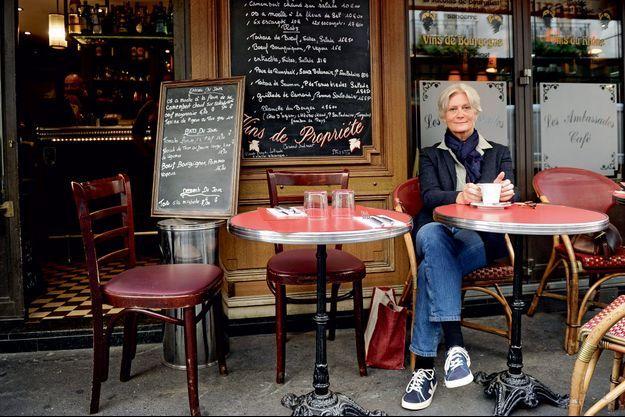 Penelope Fillon le 21 septembre 2015, à la terrasse du café Les Ambassades, à Paris.